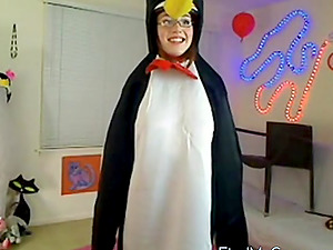 Two Funny Teens penguins on cam