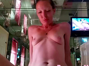 Skinny Prostitute fucks my dick without condom