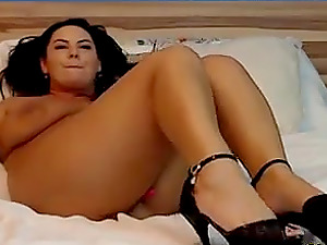 Horny Milf showing her shaved pussy live on webcam