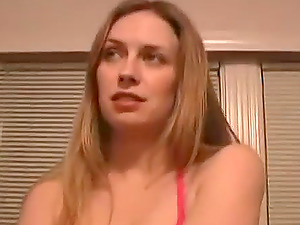Sexy blonde amateur with big natural boobs comes in for a bikini photoshoot