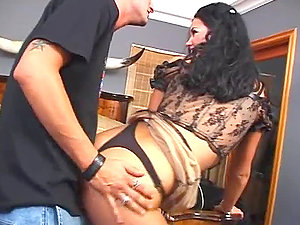 Flamy brown-haired bitch Slender Shadyxxx gets fucked by Faith Adams