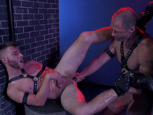 Kinky gay fisting and hardcore pounding in the dungeon