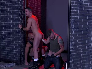 Dungeon hardcore gay threesome with bald guys pounding each other