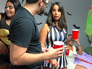 Halloween party turns into orgy with Sophia Leone and friends
