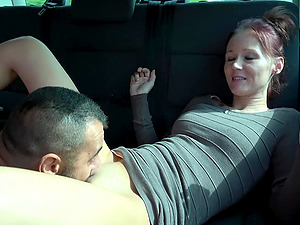 Dude gets to fuck beautiful Marci while in the backseat