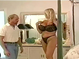 English retro blonde takes off her lingerie for a fortunate lover