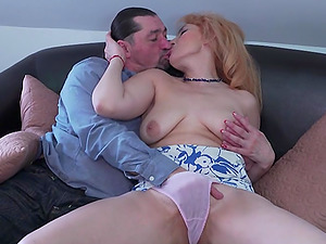 Nasty guy pleases stunning Olga C. by fucking her on the couch