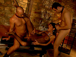 Sarah Twain needs to moan while two guys fuck her together