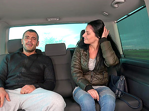 Stranded brunette Lucia is picked up and fucked in the car