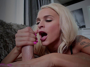 Skilled blonde Emma Hix sucks a dick like there is no tomorrow