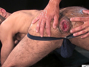 Messy and kinky gay fisting session at the dungeon