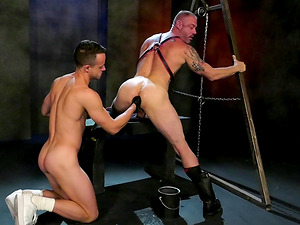 Kinky hardcore gay fisting session with horny dudes at a dungeon