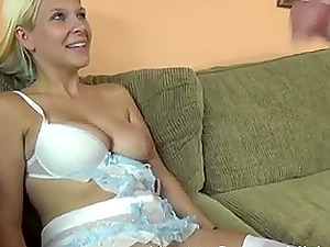 Blonde chick lets a neighbor fuck her while her tits bounce