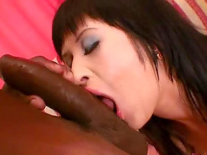 Big Black Shaft Fucking a Dark-haired in Undergarments in Interracial Point of view