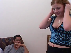 Cherry Poppens rails three sausages in an interracial 4some clip