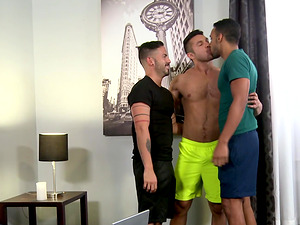 Gay Latino threesome with well hung guys on a vacation