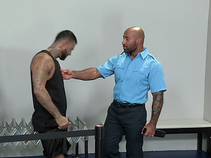 Gay airport security guard pounds a suspicious looking dude