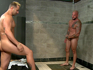 Tattooed mature gay caught masturbating and gets fucked in the shower