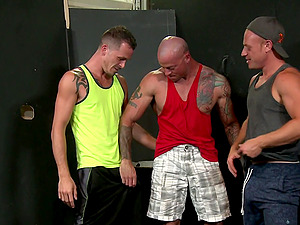 Gay threesome with mature guys after a hard workout