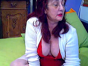Greek granny with big tits as she got so horny and masturbate infront of her cam