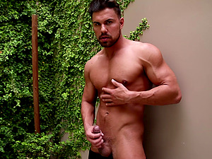 Fit guy with trimmed bear undressing and masturbating alone