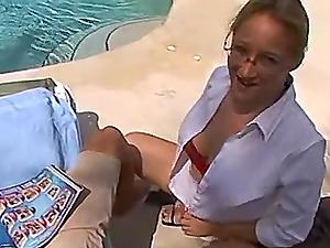 Amateur MILF gives a blowjob to a stranger who's recording everything