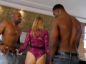 Two big black cocks brutally fuck naughty Candy Alexa in a threesome