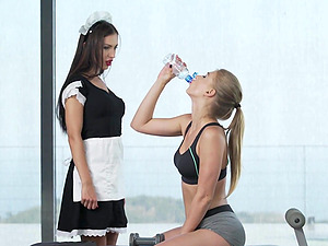 Hot threesome in the gym with Sasha Rose and Lucy Heart