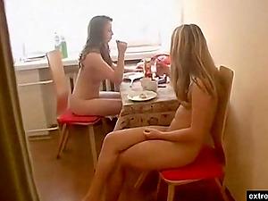 Voyeur movie of the nudist lunch of my 21 years old girlfriend