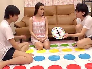 Game night with Risa Shiori turns into a threesome