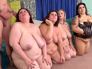 Four BBWs get pussy hammered by big dick