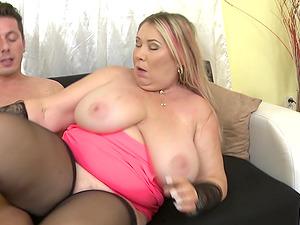 Buxom mature blonde amateur MILF Bartina gets filled with hard cock