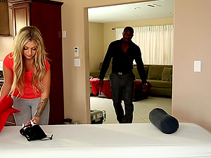 Black stud gets his dick sucked by impressive Madelyn Monroe
