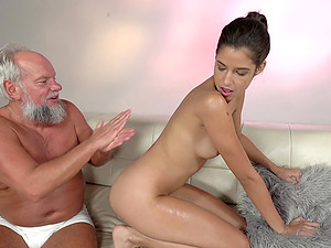 Old man massages and fucks a pnk tight pussy of Bunny Love