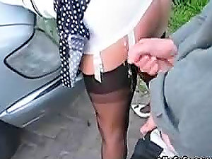 Outdoors Blow-job and Money-shot on Donk in Fullyclothed Hookup Flick