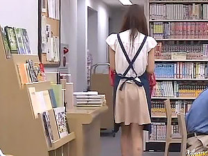Uber-cute librarian chick on her knees sucking penis and fucked