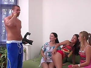 Wild hardcore foursome with Cindy Gold and her two friends on one cock