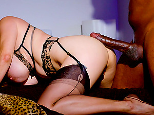Busty asian MILF Kianna Dior devours big black cock and cum