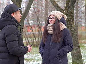 Russian brunette teen babe Bell Knock sucks and swallows cum