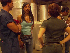 Busty ebony MILF Tanya Dewgood gets pounded hard in a warehouse