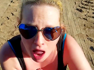 Big boobed wife gives awesome blowjob outdoors