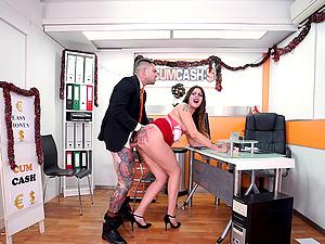 Slutty brunette Lily Calipo sucks a cock and licks balls to get a job