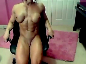 Hot cam Angie with a full body satisfies itself after a workout