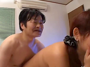 Japanese honey gets fucked rear end style by some gross dude