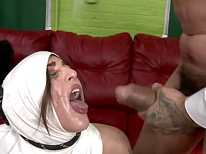 Rough throat fucking for Arab cunt