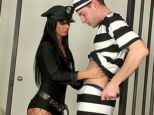 Hardcore prison sex with hot babe swallowing cum in jail