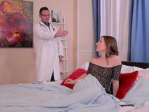Cute brunette babe Liona Shy rides her doctors big fat cock