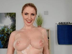 Busty blonde slut Georgie Lyall loves riding a big fat cock