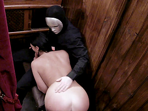 Pale pornstar Emma Leigh pounded hardcore in a church