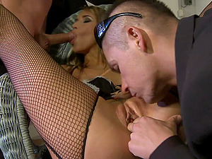 Aleska Diamond ass and pussy pounded and cum sprayed by two guys